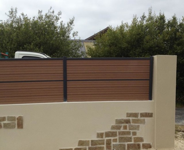 Mur paraping avec parement pierres et enduit cl ture for Mur decoratif jardin