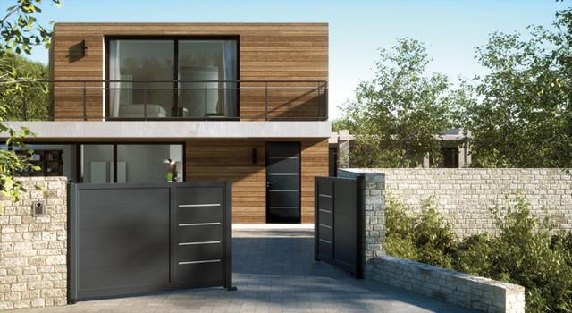 Porte d\'entrée aluminium contemporaine COTIM 11 ...