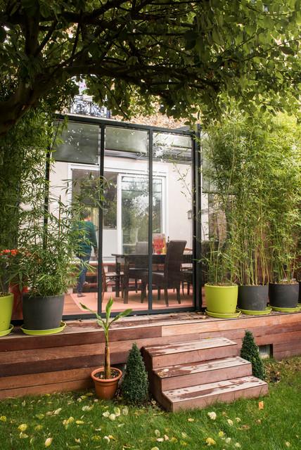 r novation d 39 une maison en meuli re contemporain jardin paris par adc l 39 atelier d 39 c t. Black Bedroom Furniture Sets. Home Design Ideas