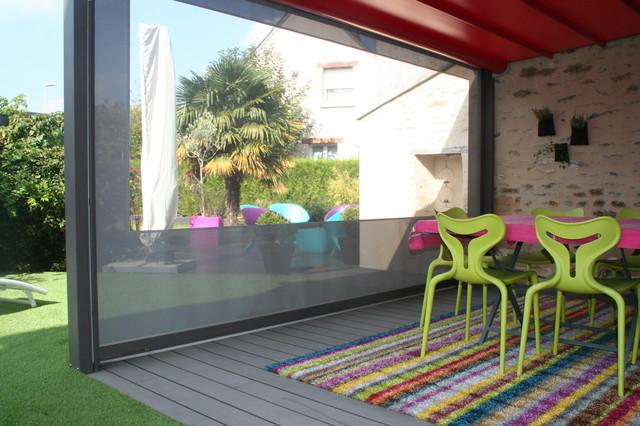 Terrasse bois composite sous pergola contemporary - Terrasse et jardin contemporain argenteuil ...
