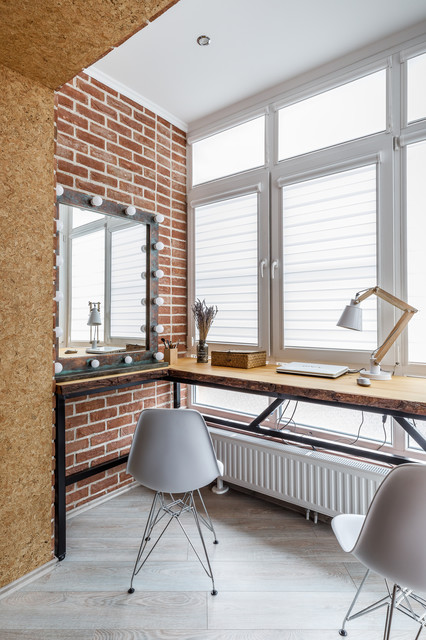 Eclectic freestanding desk gray floor study room photo in Other with red walls