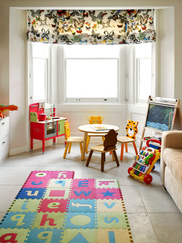 Example of a trendy playroom design in London