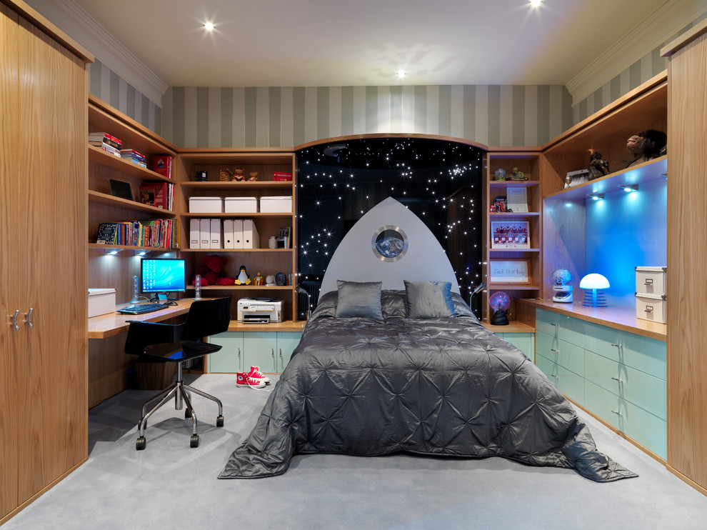 Large contemporary children's room for boys in Cambridgeshire with carpet.