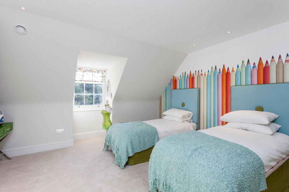 Inspiration for a transitional gender-neutral carpeted kids' room remodel in London with white walls