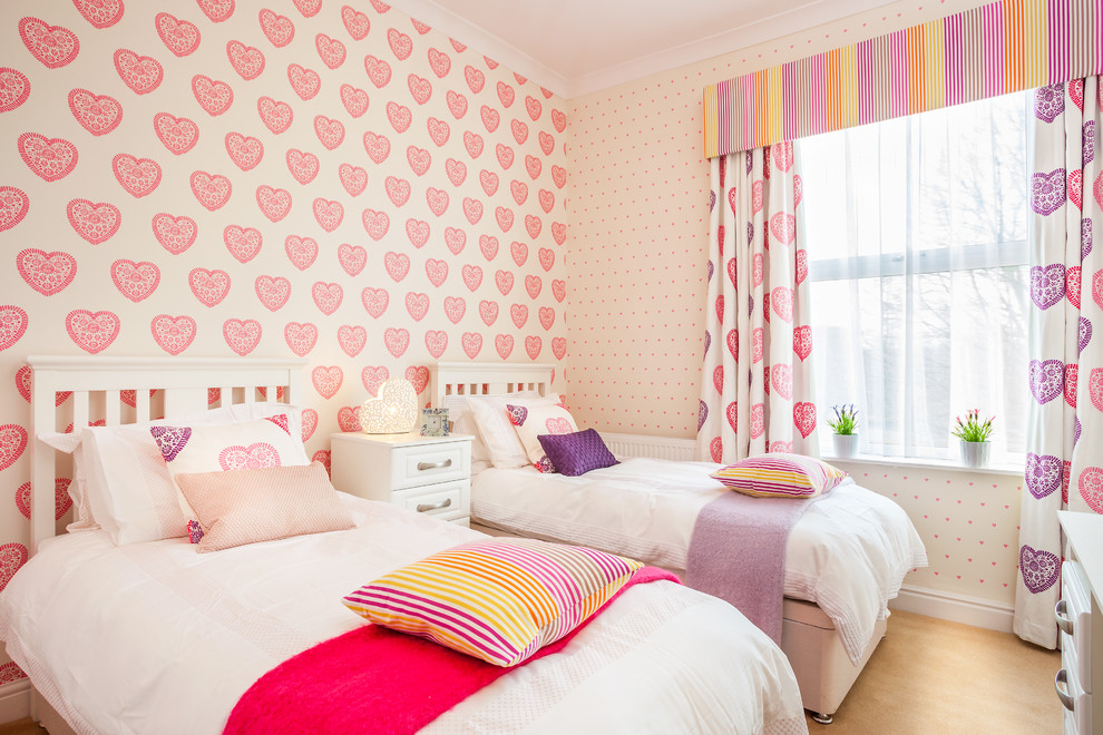 Inspiration for a timeless girl kids' bedroom remodel in Other with multicolored walls