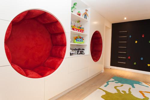 необычная мебель детской красный и белый цвет фото