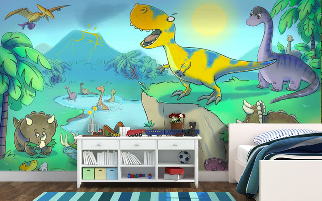 Kids dinosaur theme bedroom for Dinosaur themed kids room