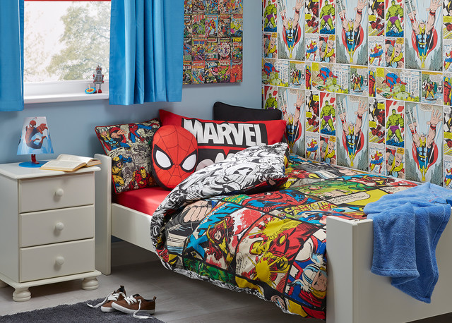 Marvel comic themed boys bedroom contemporary kids for B and q bedroom ideas