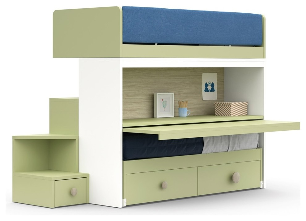 Nidi Childrens Bunk Bed With Pull Out Bed Desk Storage Solutions Contemporary Kids London By Go Modern Furniture
