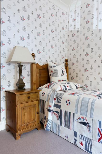 Mid-sized coastal boy kids' room photo in London