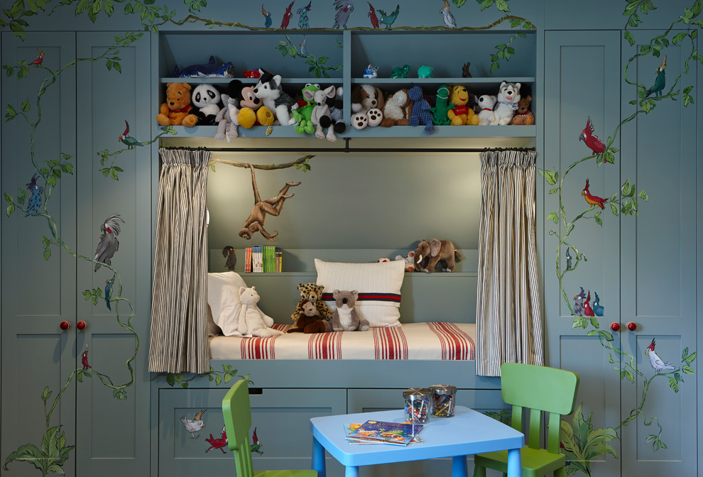 Elegant gender-neutral kids' room photo in London with gray walls