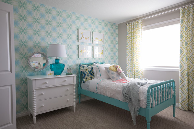 Mid-sized transitional girl carpeted kids' room photo in Calgary with gray walls