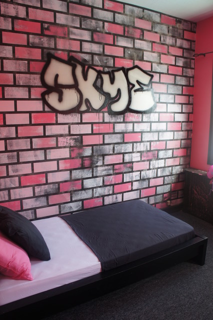80 39 s graffiti themed girls bedroom modern kids new york by the wall ink - New york girls room ...