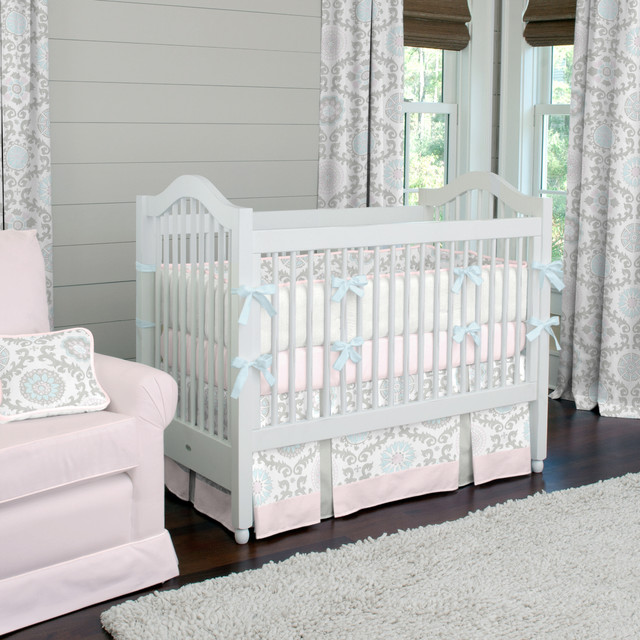 A Baby Girl 39 S Nursery Designer Crib Bedding In Pink