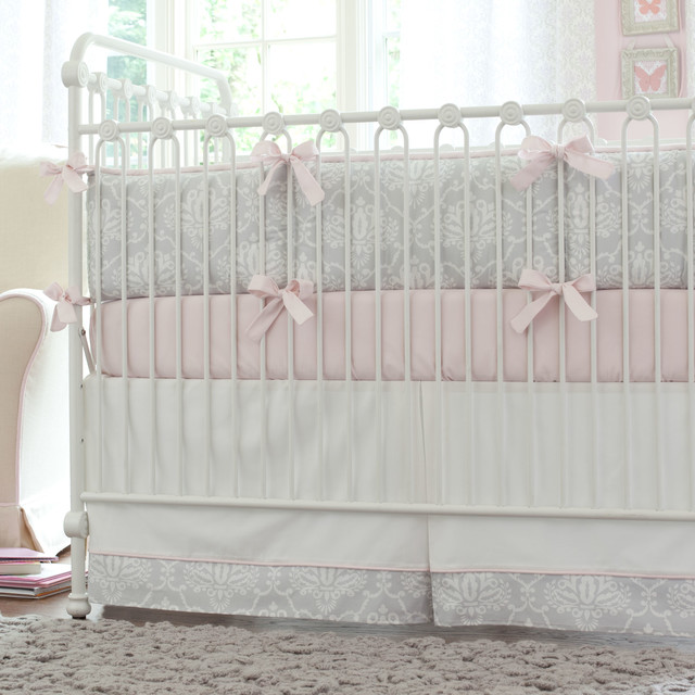 A Baby S Nursery In Pink And Gray Traditional Kids