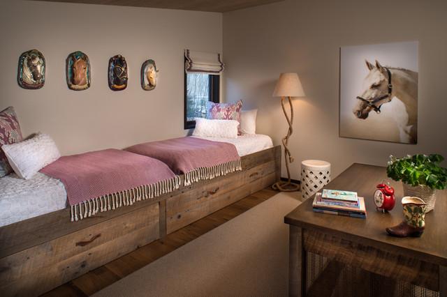 Kids' room - farmhouse girl dark wood floor and brown floor kids' room idea in Boise with beige walls