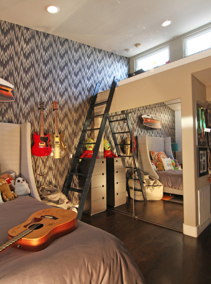 Example of an eclectic boy dark wood floor kids' room design in San Diego with gray walls
