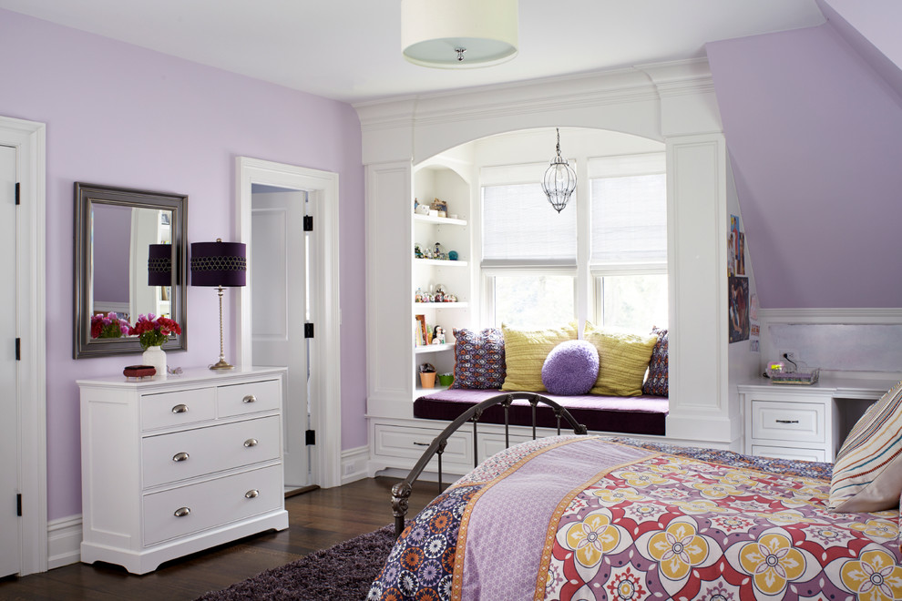Kids' room - traditional kids' room idea in New York with purple walls
