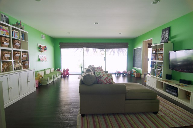 A Playroom Fit for a Trio of Modern Girls transitional-kids
