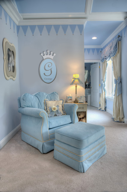 A Royal Prince Nursery In Baby Blue And Silver Traditional Kids New York By Jack And