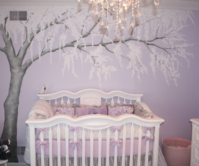 A sparkling cherry blossom nursery traditional kids for Cherry blossom tree mural