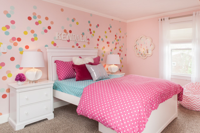 Light pink walls houzz example of a classic girl carpeted kids bedroom design in san francisco with pink walls aloadofball Choice Image