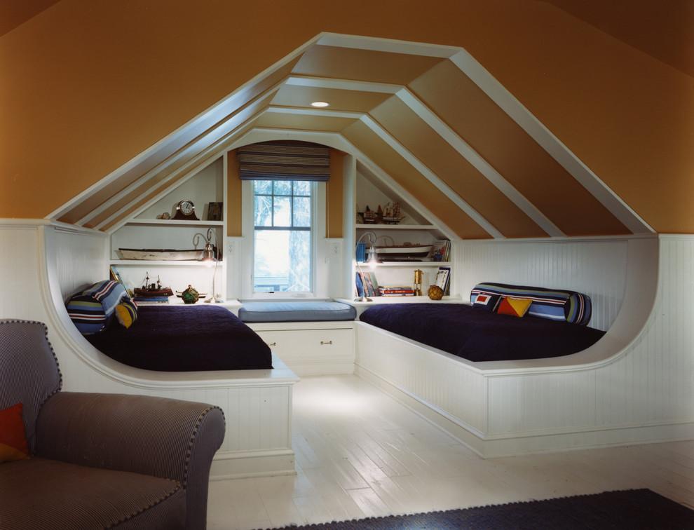 Kids' bedroom - coastal boy painted wood floor and white floor kids' bedroom idea in DC Metro with orange walls