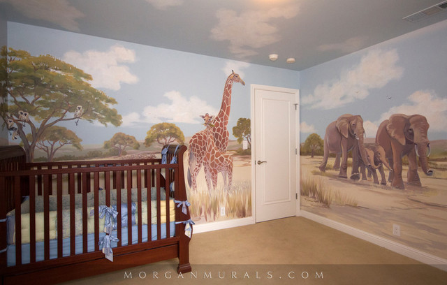 African Wildlife Wall Mural Traditional Kids San