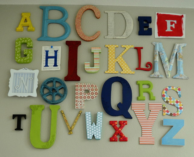 Alphabet wall art eclectic kids austin for Alphabet wall decoration