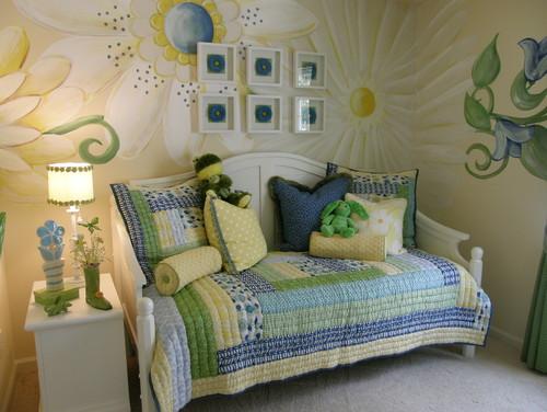 цветы в романтичном дизайне комнаты для девочки фото