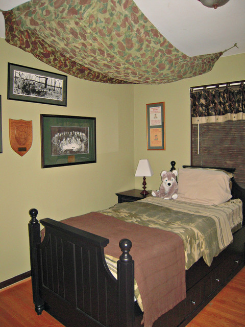 Army camo boys tween bedroom traditional kids dc for Camouflage bedroom ideas for kids