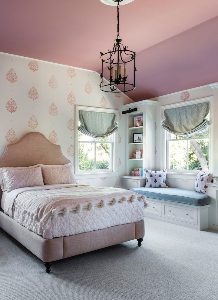 Kids' room - mid-sized transitional girl carpeted and gray floor kids' room idea in San Francisco with multicolored walls