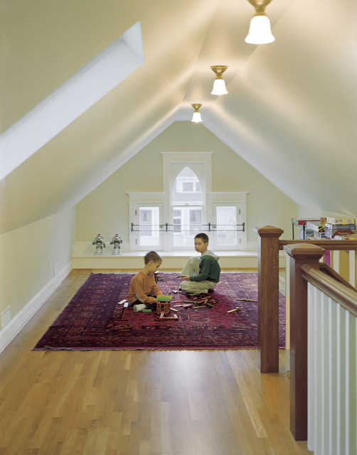 Attic traditional family room