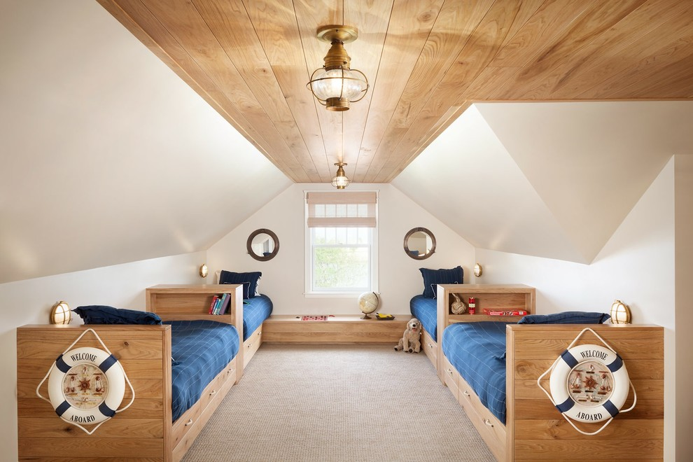 Example of a beach style kids' bedroom design in Portland Maine