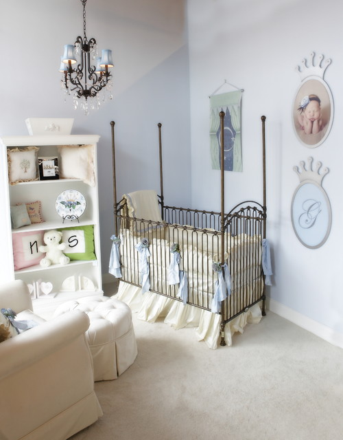 Baby Blue And Ivory Gendar Neutral Baby Nursery Traditional Kids