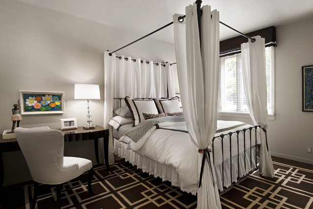 Kidsu0027 room - mid-sized contemporary girl dark wood floor and multicolored floor kids & Canopy Bed Curtains | Houzz