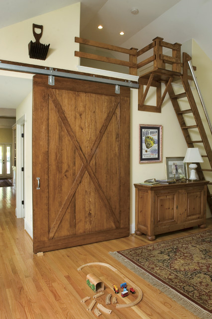 barn door & loft space traditional kids