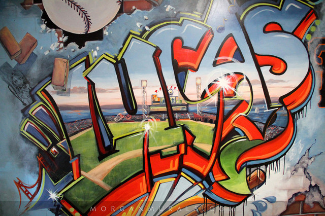 Baseball Wall Mural Of SF Giants Ballpark In Graffiti Style Industrial Kids Part 56