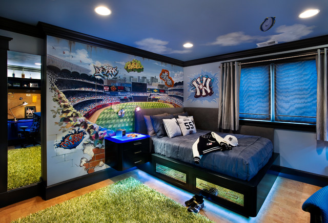 Baseball Wall Mural Of Yankees Stadium Contemporary Kids