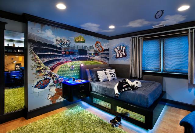 Yankee stadium teen rom for Baseball stadium mural wallpaper
