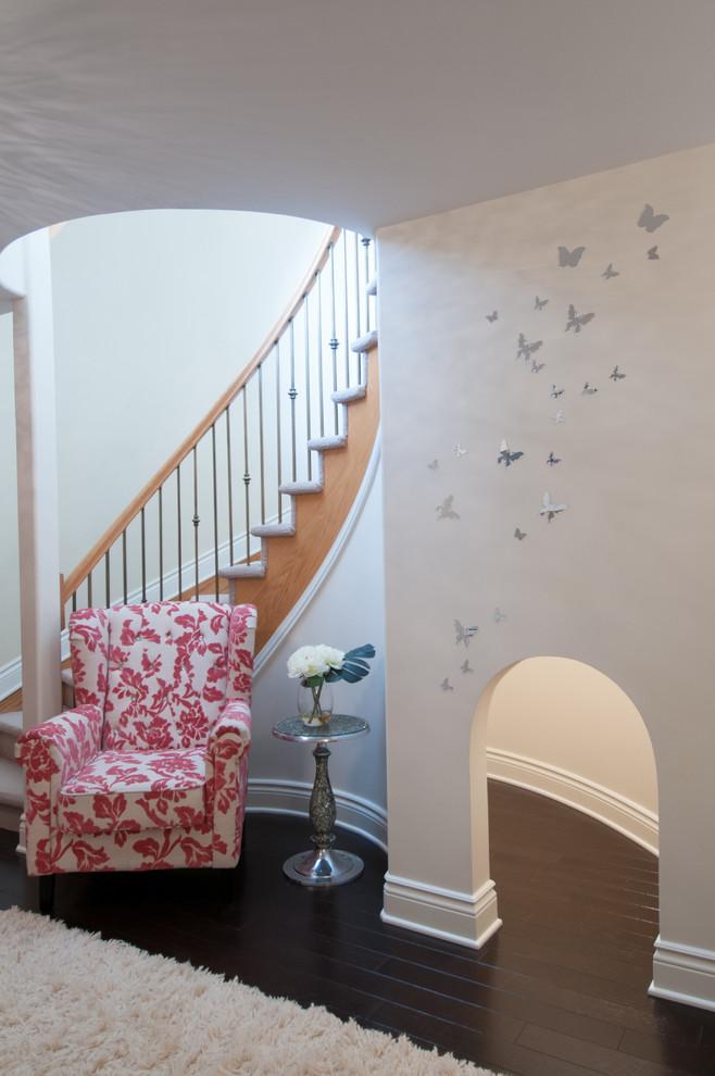 Playroom - contemporary dark wood floor playroom idea in Ottawa with white walls
