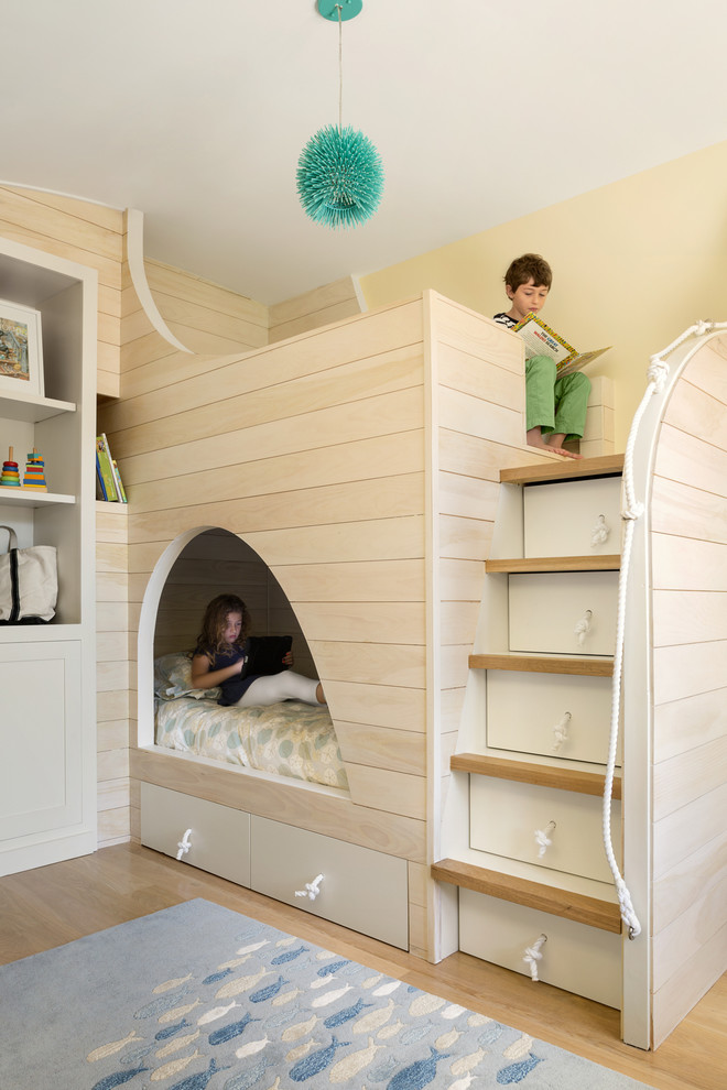 Inspiration for a coastal gender-neutral light wood floor childrens' room remodel in Portland Maine with yellow walls