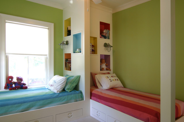 Mid sized contemporary gender neutral carpeted kids  bedroom idea in  Charleston with green. Kids Room With Two Beds   Houzz