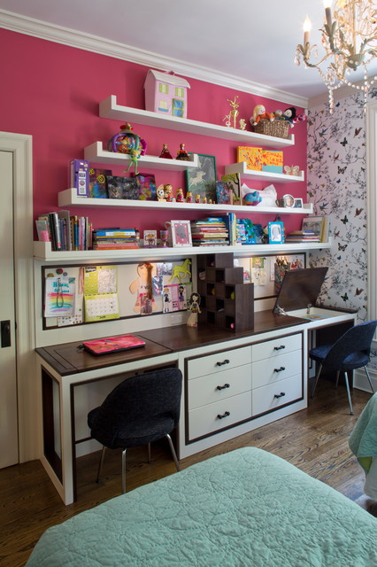 Bedroom And Custom Desk For Two Sisters Contemporary Kids