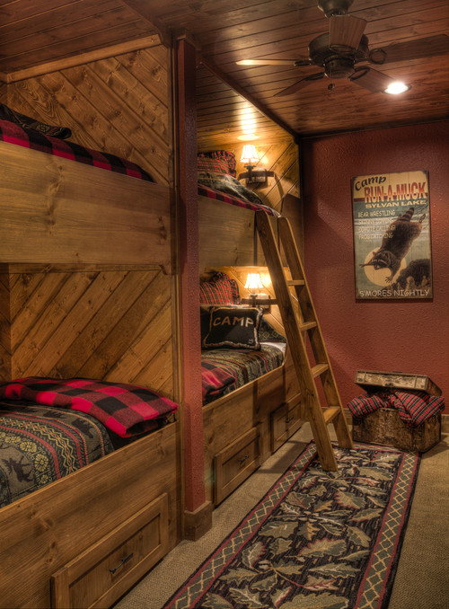 Traditional kids by crosslake general contractors lands for Log cabin style bunk beds
