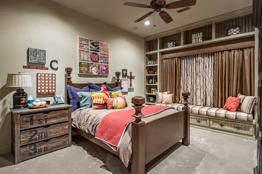 Example of a mountain style boy carpeted kids' bedroom design in Austin with gray walls