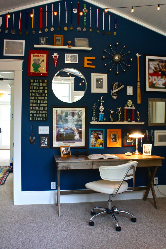 Elegant gender-neutral carpeted kids' room photo in San Francisco with blue walls