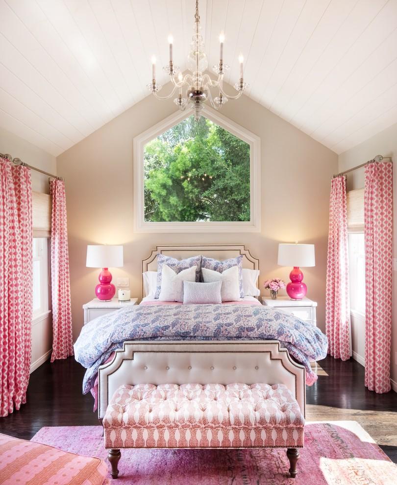 Example of a classic girl dark wood floor and brown floor kids' room design in Los Angeles with beige walls