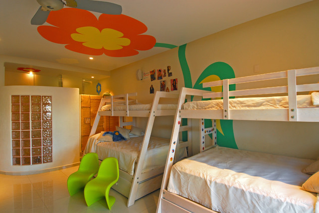 Example of an eclectic kids' bedroom design in Other with multicolored walls