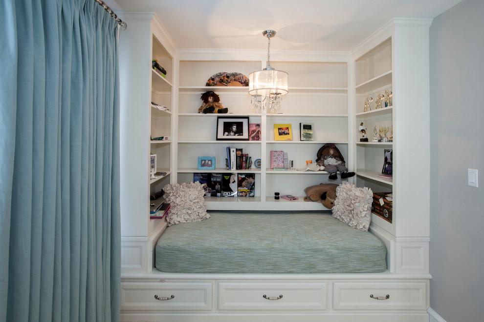 Small elegant girl kids' room photo in Philadelphia with gray walls